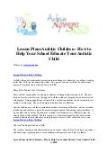 Lesson plans autistic children   how to help your school educate your autistic child