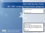 Lessons from 40+ HPC Projects -  NAG