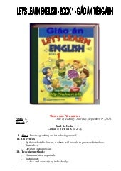 Giáo án Let's learn english book 1 ...
