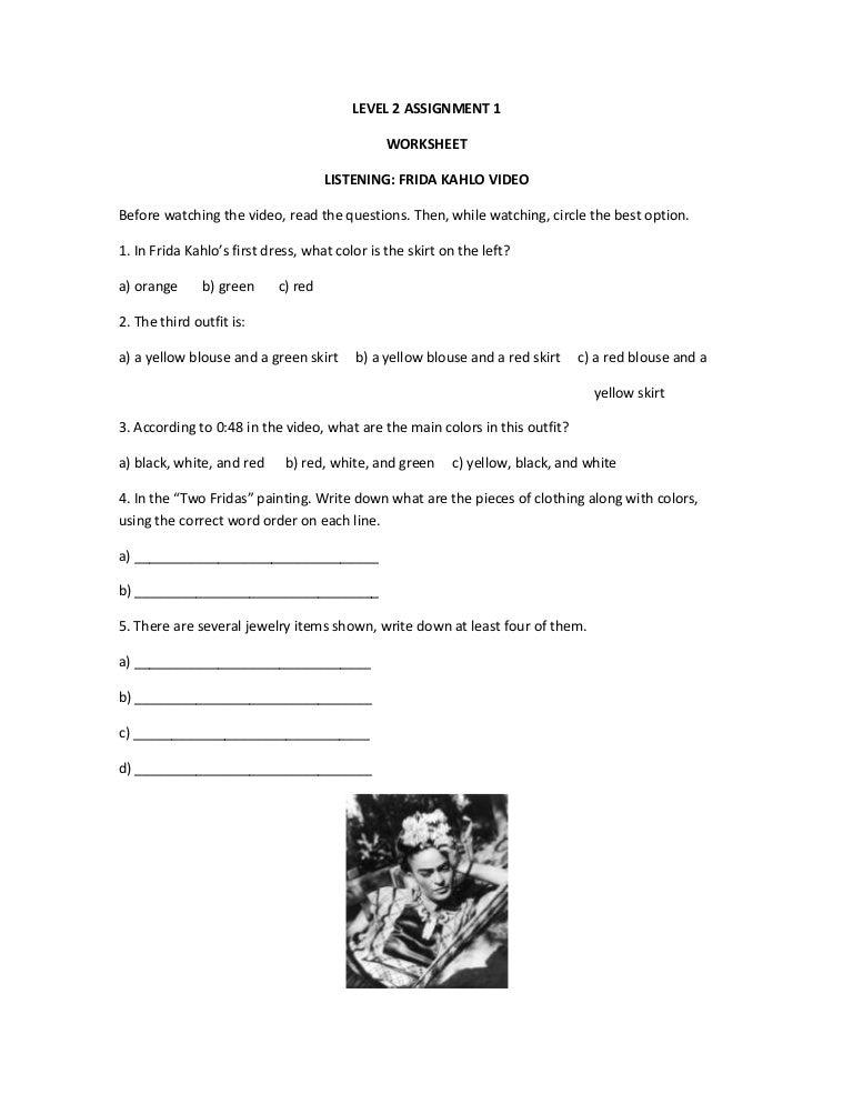 Worksheet Frida Kahlo Worksheets level 2 assignment 1 worksheet