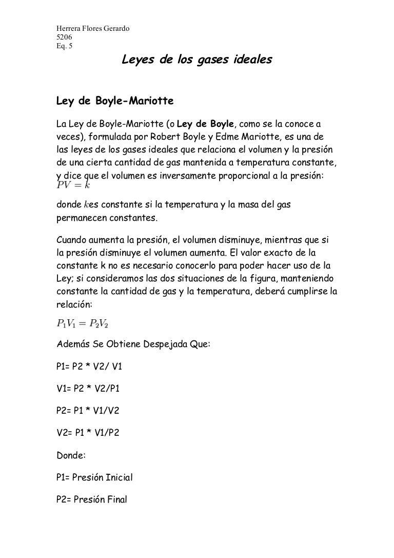 Ley de Los Gases Formulas Leyes de Los Gases