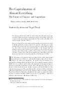 Leyshon & Thrift (2007) The Capitalization of Almost Everything: The Future of Finance and Capitalism