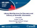 Library Web Services for Discovery and Delivery of Scientific Information