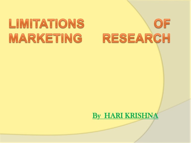 Limitation of study in research proposal