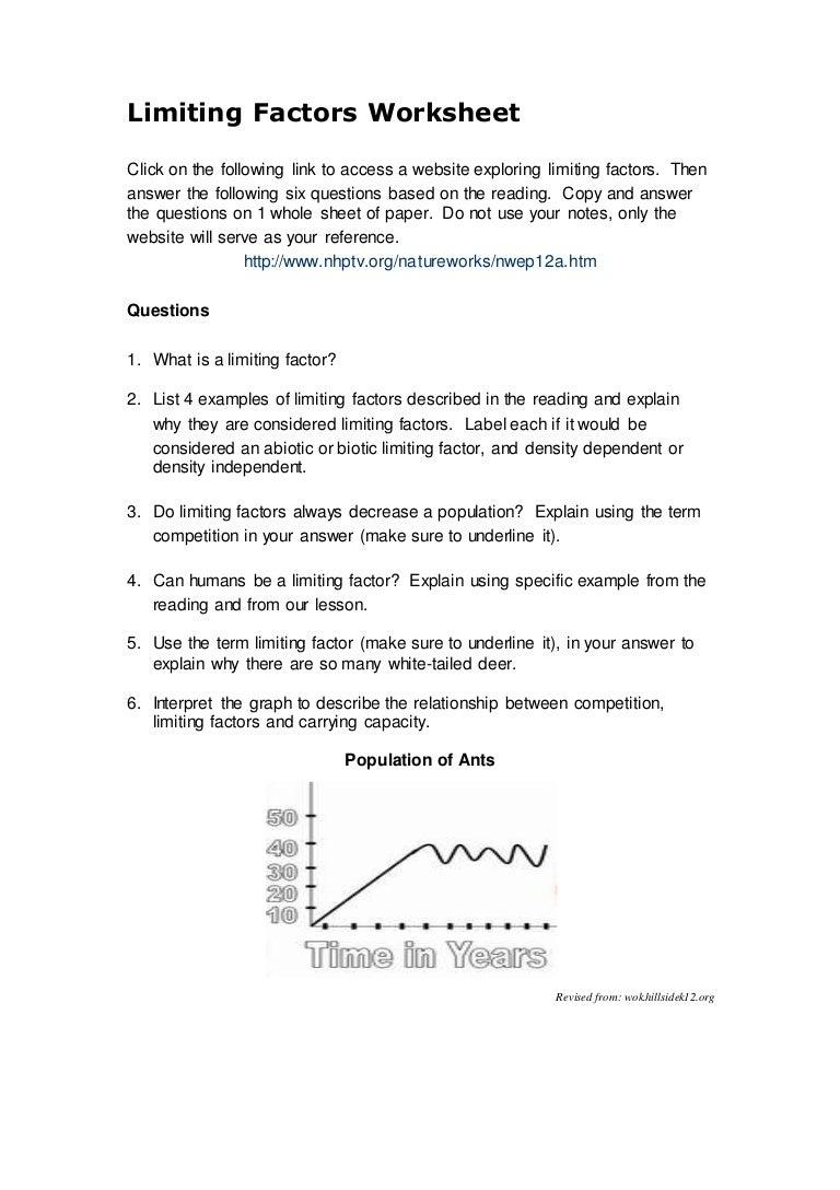 Limiting Factors Worksheet
