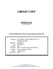 Q2 2009 Earning Report of Lindsay C...