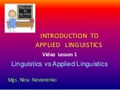 Linguistics vs applied linguistics