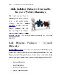 Link Building Packages Designed to Improve Website Rankings