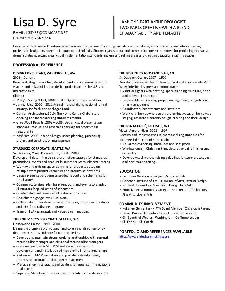 merchandising resume sample
