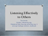 Listening effectively to others
