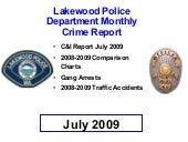 Lakewood WA, crime, July 2009 report