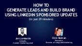 How to generate leads and build brand using LinkedIn Sponsored Updates