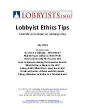 Lobbyist Ethics Tips July 2010