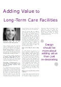 Adding Value to Long-Term Care Facilities - Lisa M. Cini, Mosaic Design Studio
