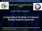 Longitudinal Studies Of Dental Impl...