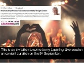 An invitation to my session on content curation at Learning Live 2015