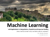 Machine Learning with Applications in Categorization, Popularity and Sequence Labeling