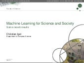 Machine learning for Science and Society
