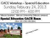 Macon, GA - GACE Workshop - Sun 2/24
