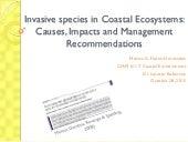 Invasive species in Coastal Ecosystems: Causes, Impacts and Management Recommendations