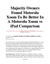 Majority Owners Found Motorola Xoom...