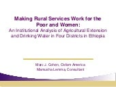 Making Rural Services Work for the ...