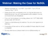 Making the Case for NoSQL