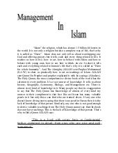 Management In Islam