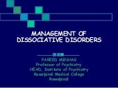 Management of dissociate disorders ...