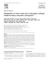 Management Of Severe Acute Pain In ...