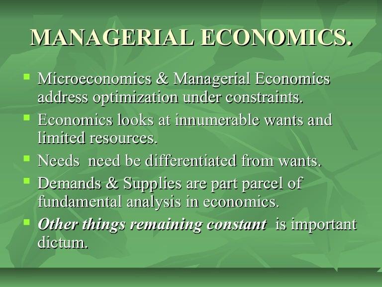 Managerial economics assignment