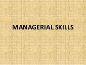 Managerial skills