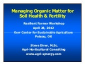 Managing Organic Matter for Soil He...