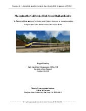 Managing the California High-Speed ...