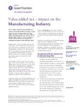 Puerto Rico: Value Added Tax - Impact on the Manufacturing Industry
