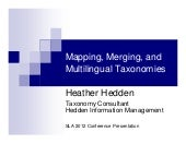 Mapping, Merging, and Multilingual Taxonomies