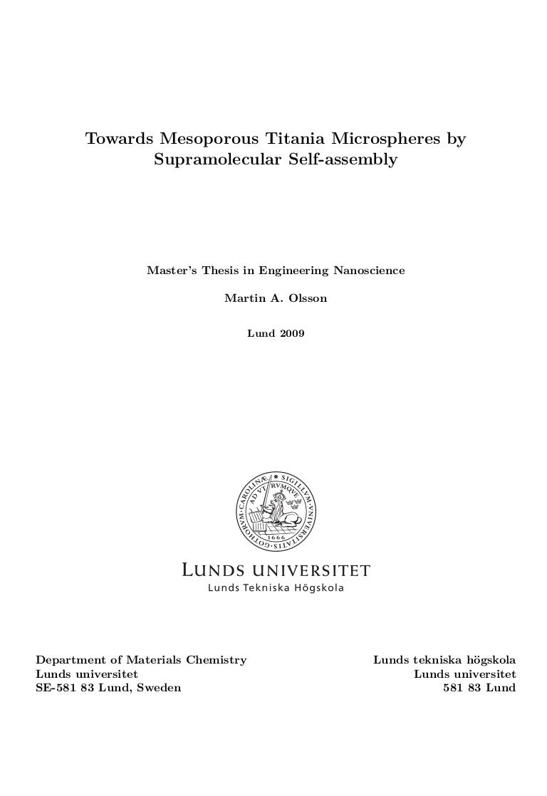 Master thesis in the