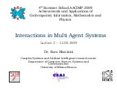 Interactions in Multi Agent Systems