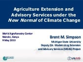 Agriculture Extension and Advisory Services under the  New Normal of Climate Change