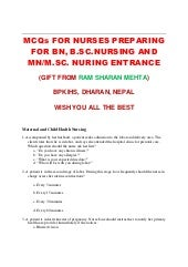 MCQs for Entrance Test for BN, MN, ...