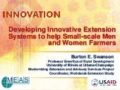 Innovative EAS for small scale farmers, by Burton E. Swanson