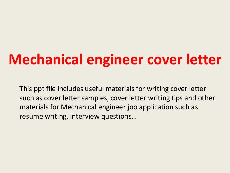 Sample Cover Letter For Mechanical Engineer Fresher
