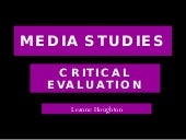 Media Studies Critical Evaluation