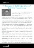 7 Strategies for Building a Culture of Quality in Manufacturing - Paul A. Arrendell, Kinetic Concepts, Inc.