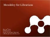 Mendeley for Librarians
