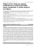 Effects of Fair Trade and organic certifications on small-scale coffee farmer households in Central America and Mexico