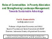 Roles of Commodities in Poverty Alleviation and Strengthening Landscape Management: Towards Sustainable Advantage