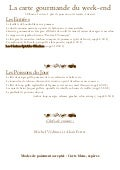 Menu gourmand du weekend du 0401 au 0601 2013