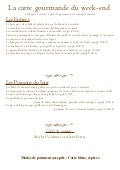 Menu gourmand  du weekend du 5 au 7 octobre