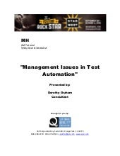 Management Issues in Test Automation